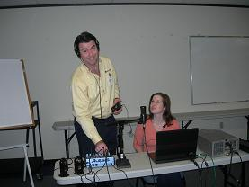 Picture of Hiram and Kelly and all their electronic equipment